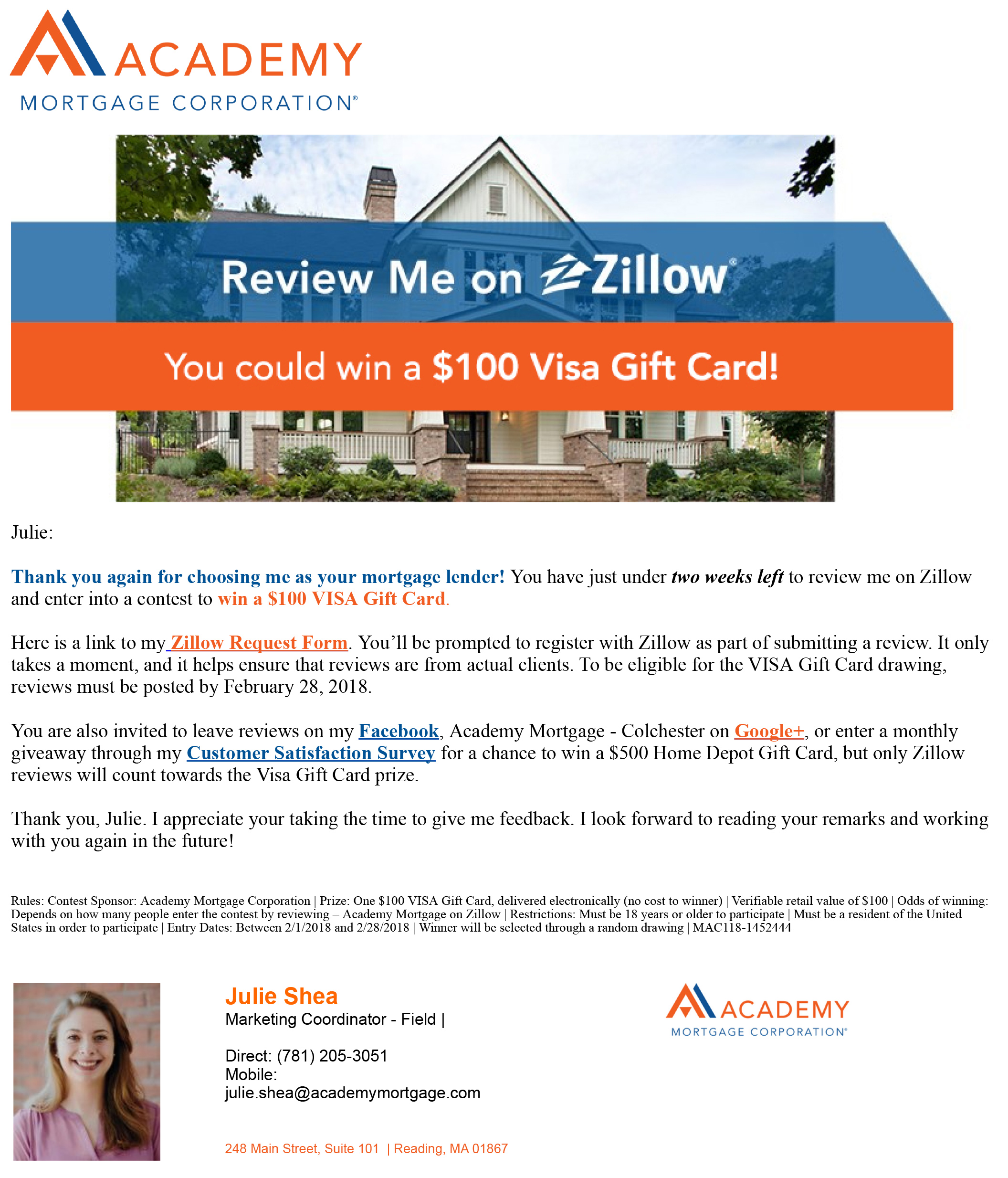 Reminder_ Review me on Zillow for a chance to win $100!