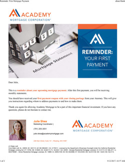 Reminder_ First Mortgage Payment