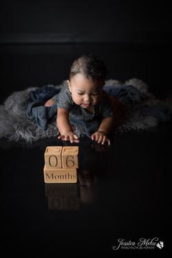 six month baby milestone professional photography studio Michigan--9