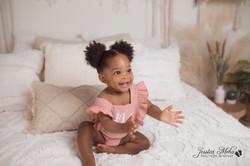 Novi Michigan One Year Baby Cake Smash Boho Lifestyle Photography Studio--5