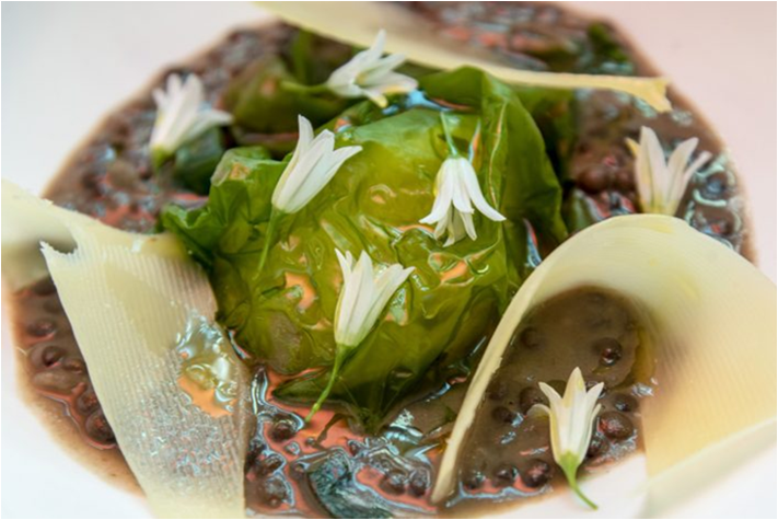 SEA LETTUCE WITH BEANS AND CHEESE