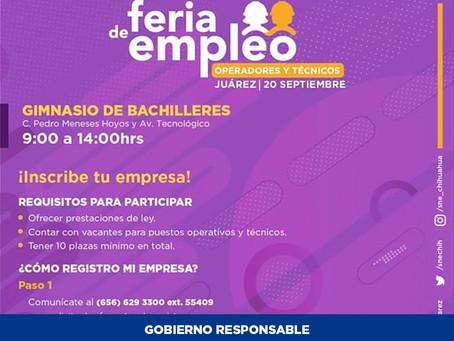 Abren inscripción de empresas para la Feria de Empleo en Ciudad Juárez