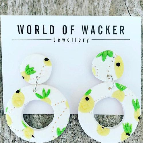 Pineapple Earrings - White