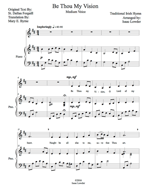 Be Thou My Vision Solo D Major/F Major (A3-F5)