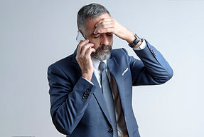 Worried senior business man has a very s