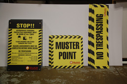 Construction Signs - Muster Pointe, No Trespassing, Safety.JPG