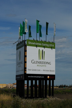 Large Outdoor Sign with Flags