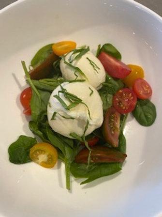 Tomato Burrata spinachand Basil salad