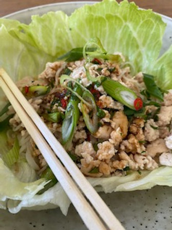 Vietnamese Chicken chilli and vermicelli salad and lettuce cups