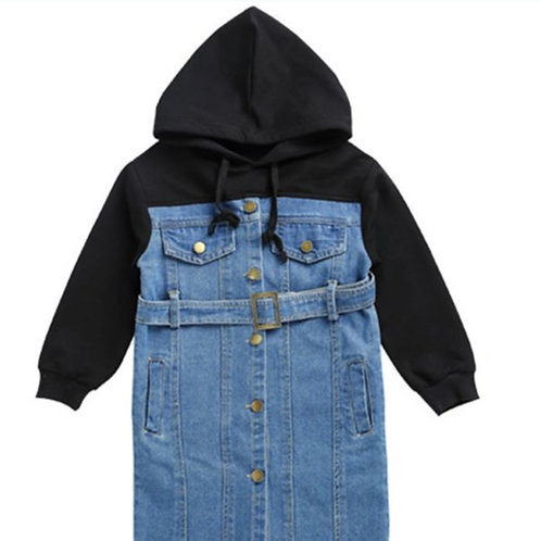 Denim hoodie dress
