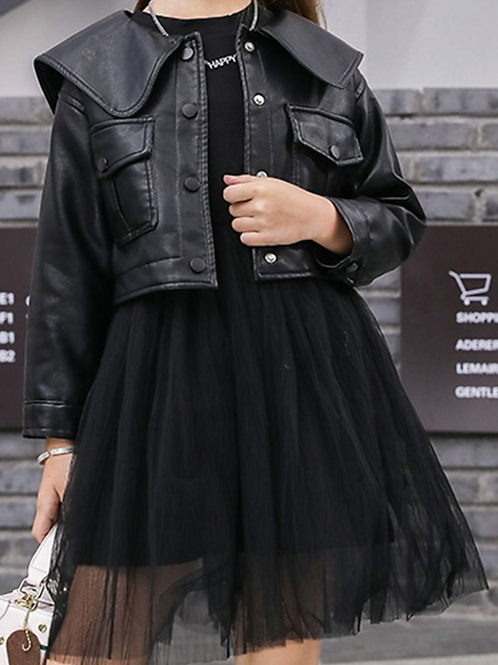 Sweater Mesh Dress With Leather Jacket Set