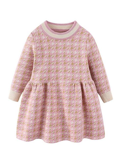 Pinky Plaid Sweater Dress