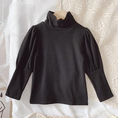 Black Knit Puff Sleeve
