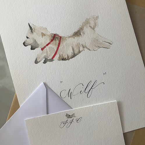 Bespoke painting with matching stationery