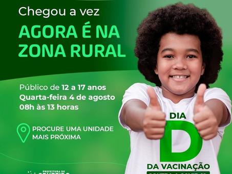 Vacinação para adolescentes na zona rural tem início nesta quarta-feira