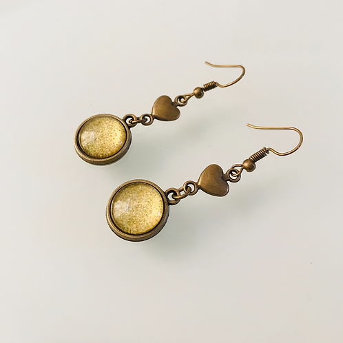 Bronze Drop Heart Earrings