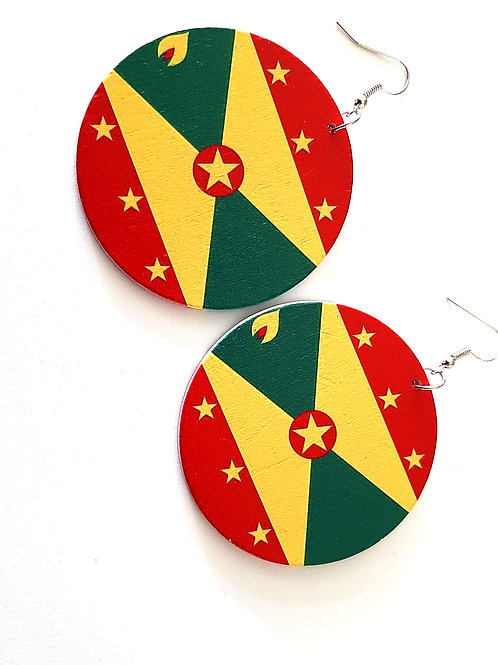 Wooden Rep Your Island Earrings