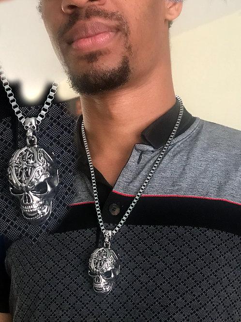 Skull Head Silver Necklace