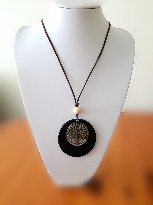Long Wooden Tree Of Life Necklace