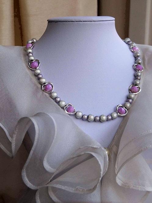 Purple Hearts & Pearls Necklaces