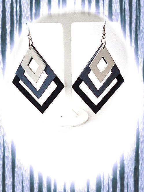 Wooden Diamond Earrings