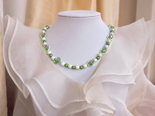 Green Hearts and Pearl Necklace