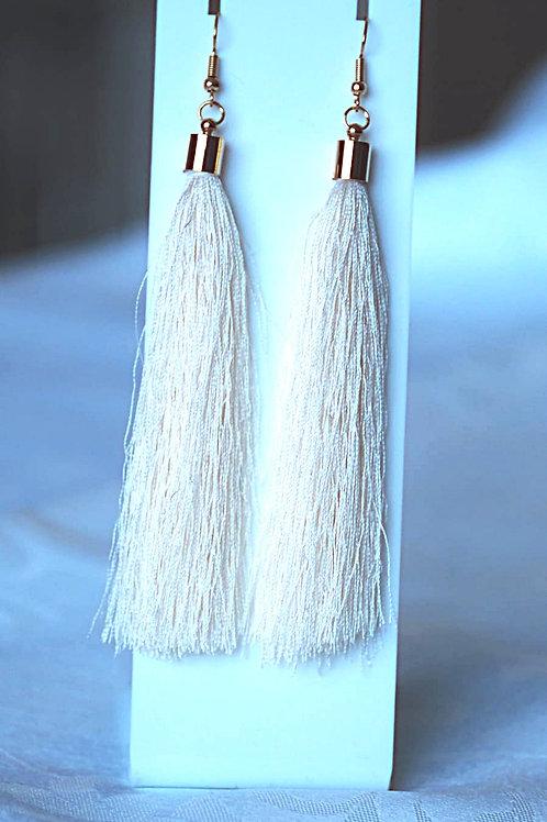 Gold Cap Tassel Earrings