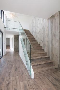 Natural Harwood Stairs and Wall