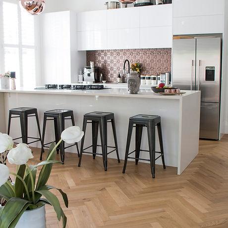 Kitchen with Hering Bone flooring