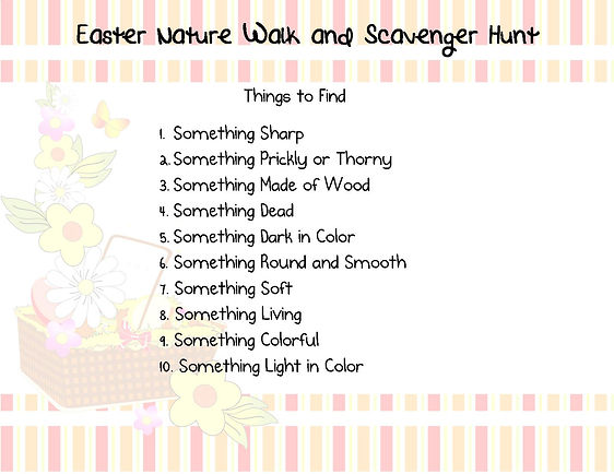 Nature Walk and Scavenger Hunt - Clues O