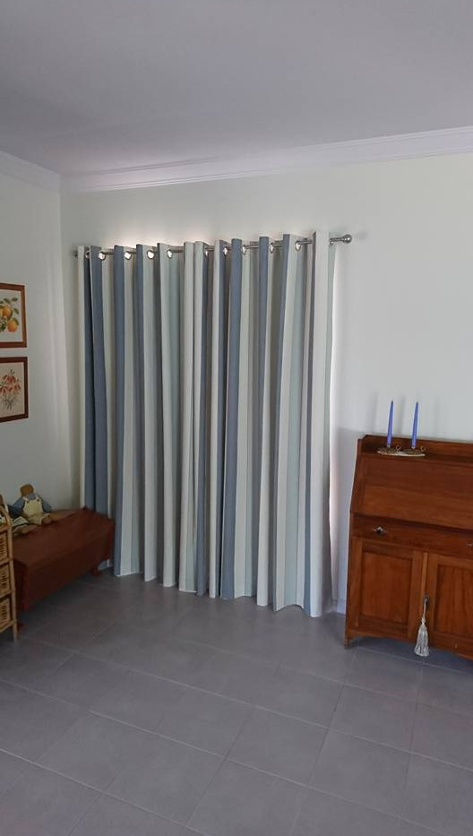 Striped bedroom curtains