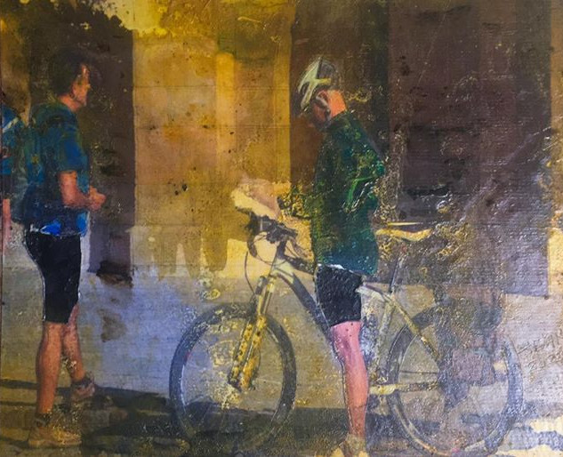 Black Bicycle Shorts.Mixed media. 8 X 10