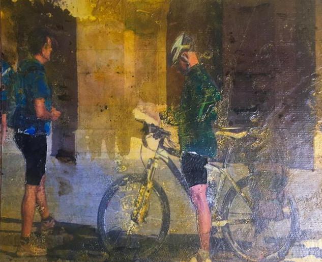 Black Bicycle Shorts.Mixed media. 8 X 10