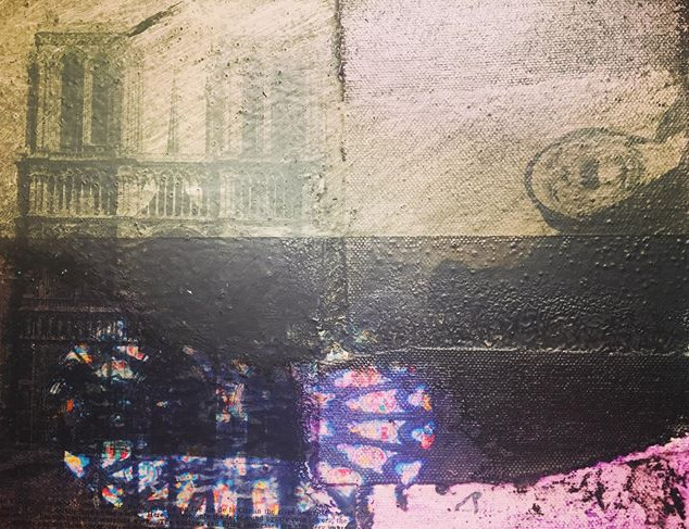 Remembering Notre Dame. Mixed media. 8 X