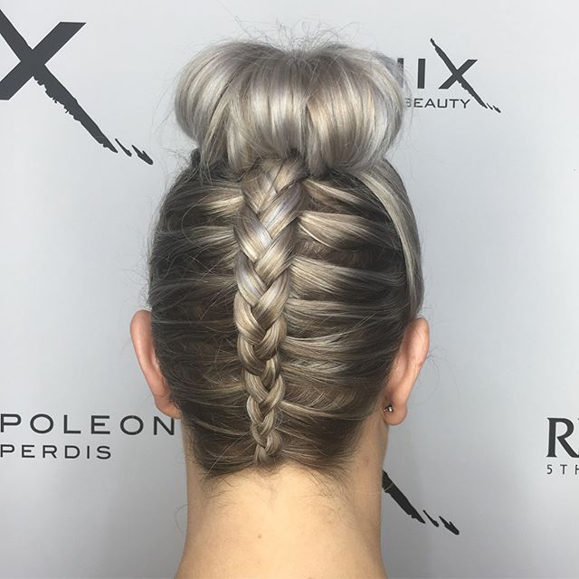 Awesome upstyle braid with bun for Bek �