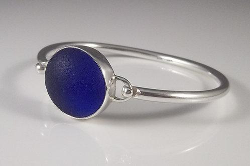 Cobalt Blue Sea Glass Bangle Bracelet
