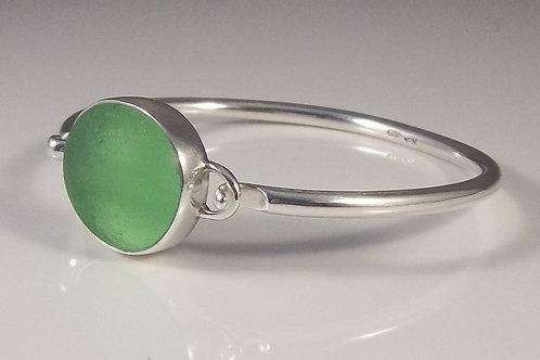 Sea Foam Green Sea Glass Bangle Bracelet
