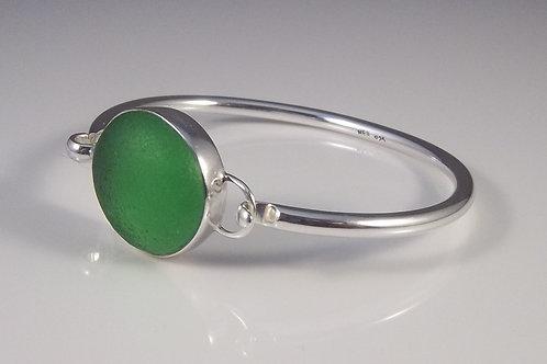 Lime Green Sea Glass Bangle Bracelet