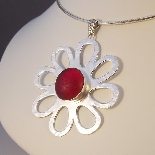 Red 'Whimsy Flower' Pendant