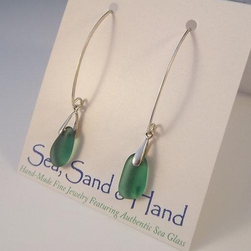 Teal Green Earrings (Long Wires)