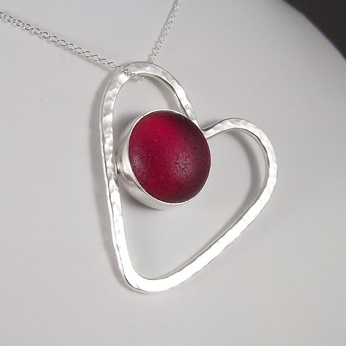 Hammered Red 'Heartthrob' Pendant