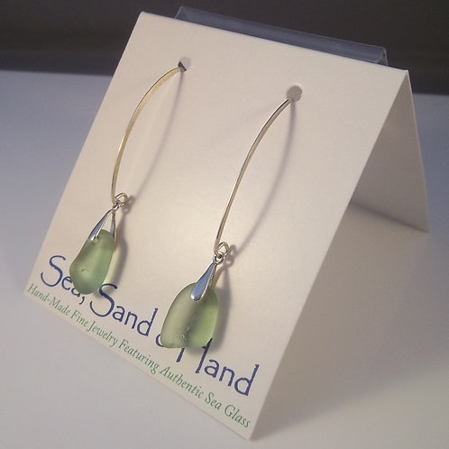 Citron/Olive Green Earrings (Long Wire)