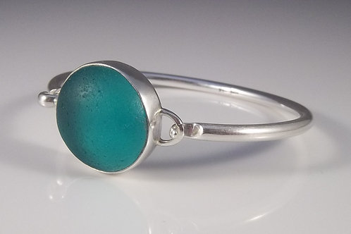 Teal Blue/Green Sea Glass Bangle Bracelet