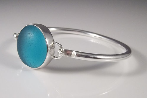 Turquoise Sea Glass Bangle Bracelet