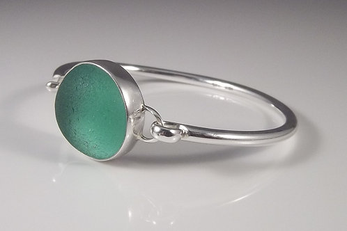 Sea Foam Green Sea Glass Bangle Bracelet