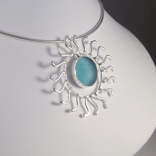 Aqua Blue 'Sunburst' Pendant