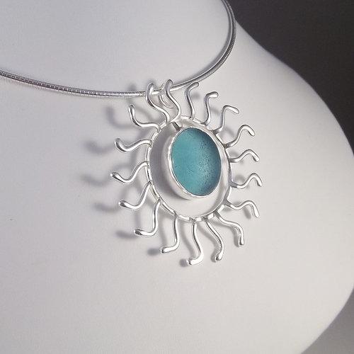 Sea sand and hand fine authentic sea glass jewelry aqua blue aqua blue sunburst pendant aloadofball Images