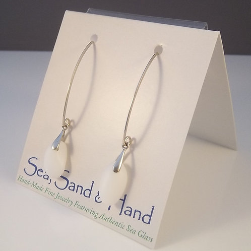White/Opaque Milk Glass Earrings (Long Wires)