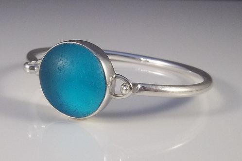 Turquoise Blue Sea Glass Bangle Bracelet