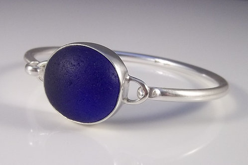 Cobalt Blue Sea Glass Bangle Bracelet